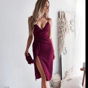 Maroon Dress with Slit